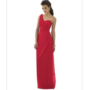 After Six red one shoulder dress size 10